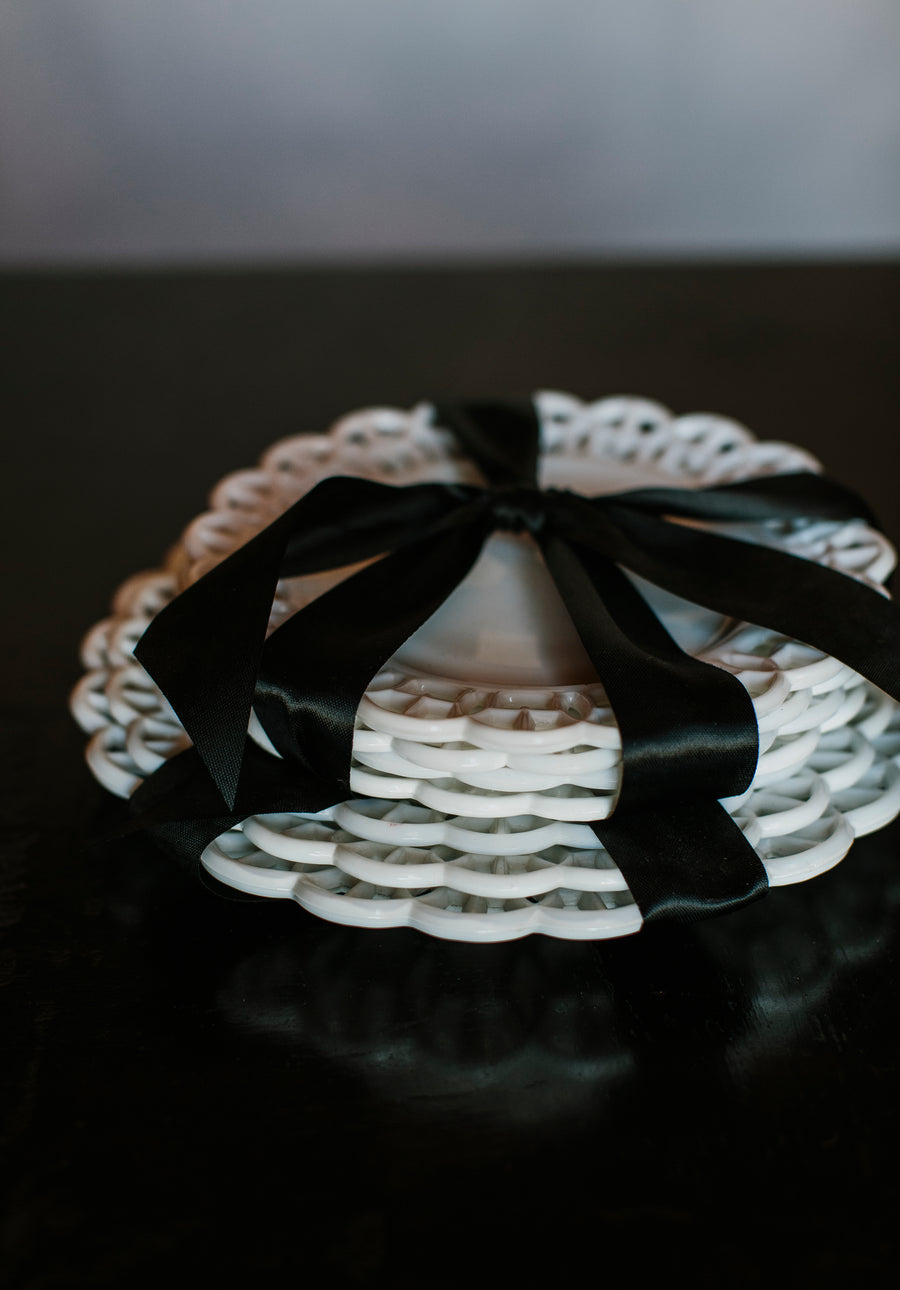 Milk Glass Lace Edge Dessert Plates