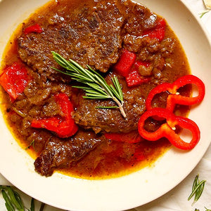 Silverside beef & red peppers braised in red wine & beef stock.