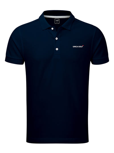 Polo de golf en fibre technique bleu marine