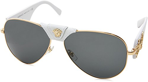 Versace Women's 0VE2150Q 1341/87 Medusa Aviator Sunglasses, White/Grey