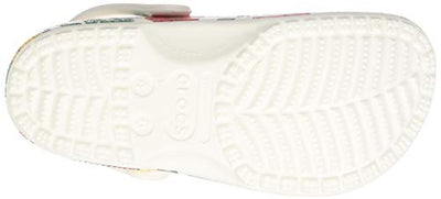 Crocs Men's and Women's Classic Floral Clog|Casual Slip On Water Shoe, White, 9 US 7 US M US - Current Trend Sales