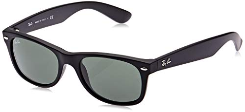 Ray-Ban RB2132 New Wayfarer Sunglasses, Black Rubber/Green, 52 mm - Current Trend Sales