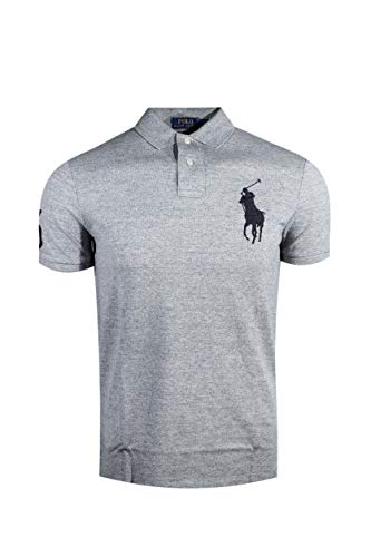 Polo Ralph Lauren Mens Custom Fit Big Pony Logo Polo Shirt (Small, Dark Grey Heather) - Current Trend Sales
