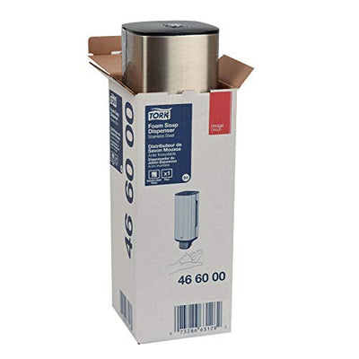 "Tork 466000 Image Design Foam Skincare Manual Dispenser, 11.375"" Height x 4.25"" Width x 4.25"" Diameter, Stainless Steel, for use with Tork 401211, 401212, 401213 or 400261 - Current Trend Sales"