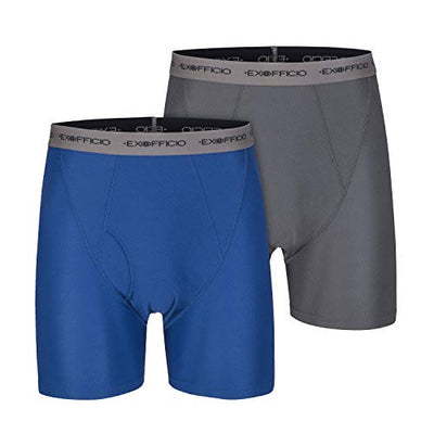 ExOfficio Men's Give-N-Go Boxer Brief 2 Pack, Granite/Admiral, Large