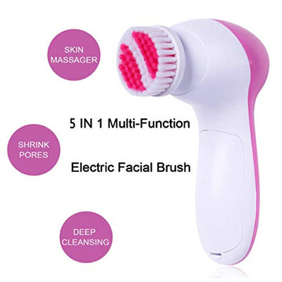 【 Newest 2020 】Gackoko Facial Cleansing Brush-Waterproof Face Spin Brush Set with 5 Brush Heads,Gentle Exfoliating and Removing Blackhead,Deep Cleansing face (PINK) - Current Trend Sales