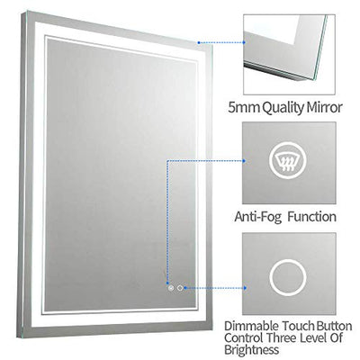 Keonjinn 36 x 28 Inch Bathroom LED Vanity Mirror Anti-Fog Wall Mounted Makeup Mirror with Light (Horizontal/Vertiacl)