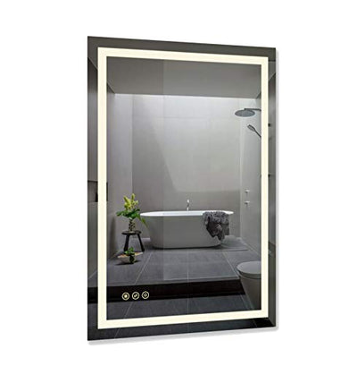 B&C 24x36 inch Super Slim Bathroom Mirror Horizontal or Vertical| LED Backlit | Polished Edge &Frameless | Defogger & Dimmer|Touch Switch|Copper Free Silver Backed