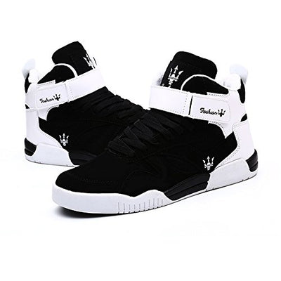 Men's Fashion High Top Leather Street Sneakers Sports Casual Shoes (9.5, Black) - Current Trend Sales