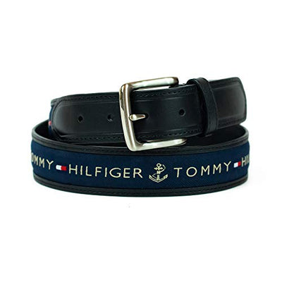 Tommy Hilfiger Men's Ribbon Inlay Belt - Ribbon Fabric Design with Single Prong Buckle, Black/Navy, 36 - Current Trend Sales