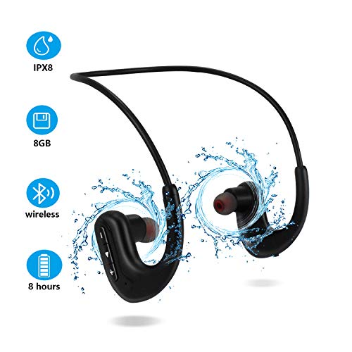 Waterproof Headphones for Swimming, IPX8 8GB in-Ear Wireless Earbuds Sport Wearable MP3 Player Headset with Noise Cancelling Microphone for Running, Cycling, Workout, Jogging, Diving Water, Black