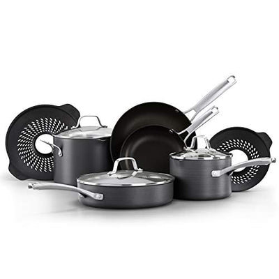 Classic Pots and Pans Set, 10 Piece Cookware Set with No Boil-Over Inserts, Nonstick - Current Trend Sales