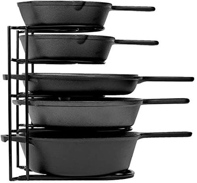 Heavy Duty Pan Organizer, 5 Tier Rack - Holds up to 50 LB - Holds Cast Iron Skillets, Griddles and Shallow Pots - Durable Steel Construction - Space Saving Kitchen Storage - No Assembly Required - Current Trend Sales