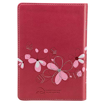 KJV Holy Bible, Compact Bible - Floral Pink Faux Leather Bible - Current Trend Sales