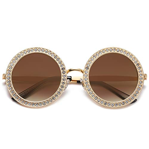 SOJOS Round Oversized Rhinestone Sunglasses for Women Festival Sunglasses SJ1095 with Gold Frame/Gradient Brown Lens with White Diamonds - Current Trend Sales