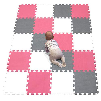 "YIMINYUER Foam Mats 30"" x 30"" EVA Gym Floor Mats Interlocking Floor Mats Large Exercise Mat for Gym Fitness Basement Garage Workshop White Red Gray R01R09R12G301020"