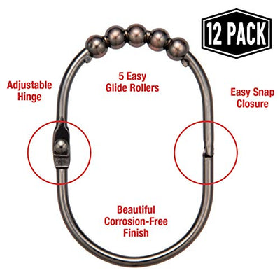 Shower Curtain Rings/Hooks Set, Oil Rubbed Bronze Finish, - Current Trend Sales