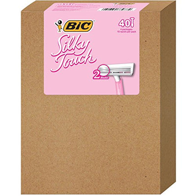 BIC Silky Touch Women's Twin Blade Disposable Razor, 10 Count - Pack of 4 (40 Razors)