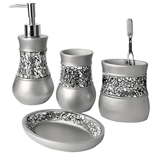 Gray Bathroom Accessories Set - 4 Piece Bathroom Decor Set - Current Trend Sales