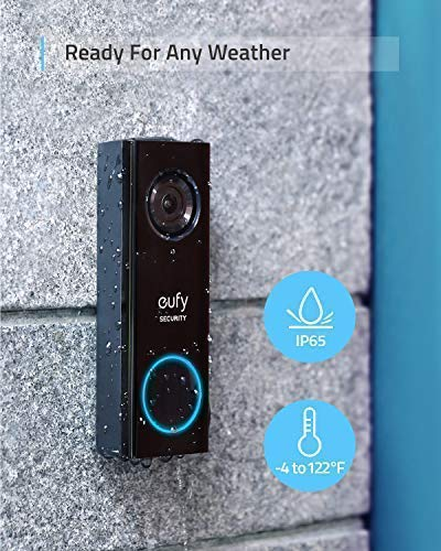 eufy Security, Wi-Fi Video Doorbell, 2K Resolution, No Monthly Fees, Secure Local Storage,Human Detection, 2-Way Audio, Free Wireless Chime-Requires Existing Doorbell Wires