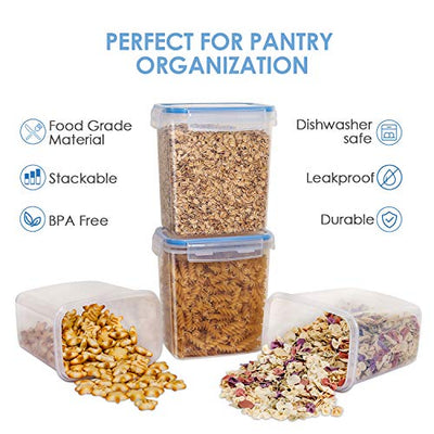 Vtopmart Airtight Food Storage Containers 12 Pieces 1.5qt / 1.6L- Plastic PBA Free Kitchen Pantry Storage Containers for Sugar, Flour and Baking Supplies - Dishwasher Safe - Include 24 Labels, Blue - Current Trend Sales