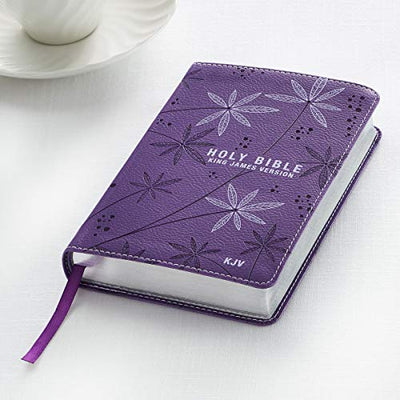 KJV Holy Bible, Compact Bible - Floral Purple Faux Leather Bible w/Ribbon Marker, Red Letter Edition, King James Version - Current Trend Sales