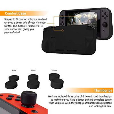 Switch Accessories Bundle - Orzly Geek Pack for Nintendo Switch: Case & Screen Protector, Joycon Grips & Racing Wheels, Switch Controller Charge Dock, Comfort Grip Case & More - JetBlack - Current Trend Sales