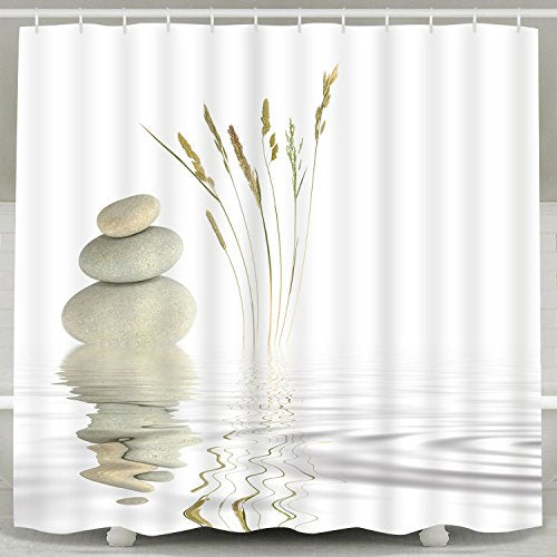 Shower Curtain Zen Stone Wild Grass Reflection 12 Hooks - Current Trend Sales