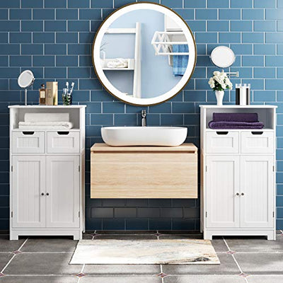 Bathroom Floor Cabinet Wooden Storage Organizer  2 Drawer 2 Doors - Current Trend Sales