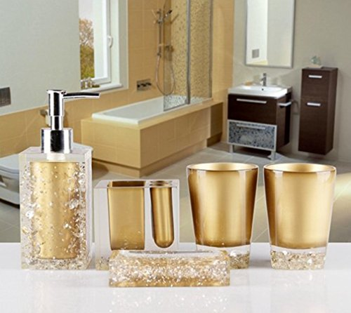 5 Piece Bathroom Accessories Set in Crystal Like Acrylic - Current Trend Sales