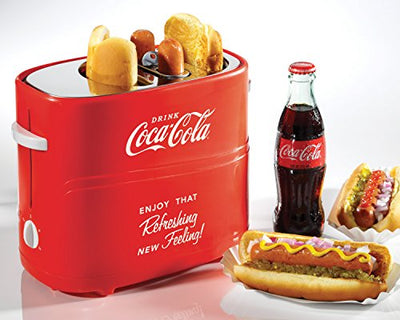 Nostalgia HDT600COKE Coca-Cola Pop-Up 2 Hot Dog and Bun Toaster, With Mini Tongs, Works With Chicken, Turkey, Veggie Links, Sausages and Brats, Red - Current Trend Sales