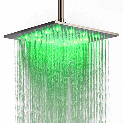 JinYuZe Luxury Bathroom 12 Inch Large Square Top Sprayer Stainless Steel LED Rainfall High Pressure Shower Head Adjustable Ceiling Mounted,Brushed Nickel