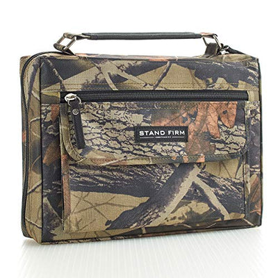 "Mossy Oak Camo Poly-Canvas Bible / Book Cover w/""Stand Firm"" Tag - 1 Corinthians 16:13 (Medium) - Current Trend Sales"
