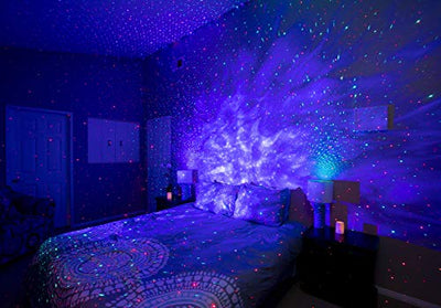 BlissLights Sky Lite - Laser Projector w/LED Nebula Cloud for Game Rooms, Home Theatre, or Night Light Ambiance (Blue)