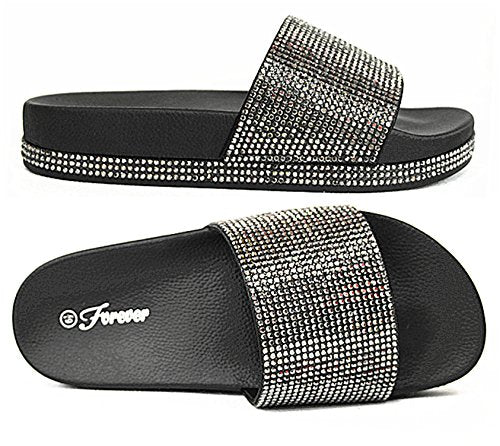 Forever Link Viste-07 Rhinestone Glitter Slide Slip On Flatform Footbed Sandal Slippers (7, Black-07)