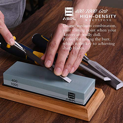 Premium Knife Sharpening Stone Kit, ASEL 4 Side 400/1000 2000/5000 Grit Whetstone, Best Kitchen Blade Sharpener Stone, Non-Slip Bamboo Base and Bonus Angle Guide Included - Current Trend Sales