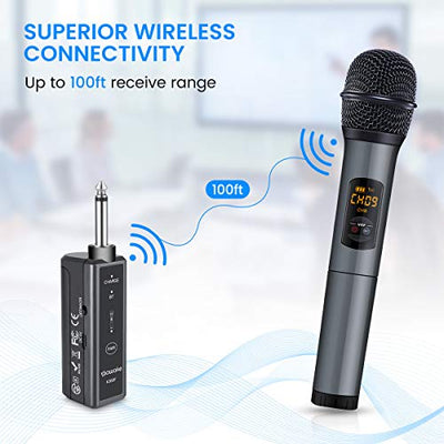 Wireless Microphone, 10 Channel UHF Wireless Bluetooth Microphone System, Dynamic Handheld Cordless Mic with Rechargeable Receiver for Karaoke/Singing/Church/Speech (100ft Range, Work 10hrs) - Current Trend Sales