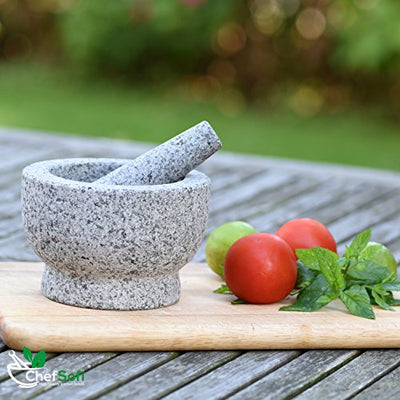 Mortar and Pestle Set - 6 Inch - 2 Cup Capacity+ Italian Recipes Ebook - Current Trend Sales