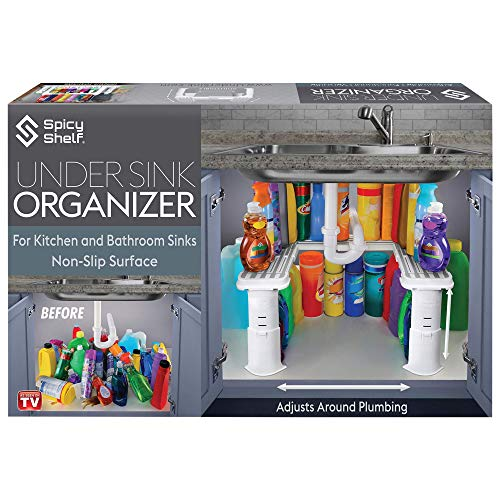 Expandable Under Sink Organizer and Storage |for Kitchen + Bathroom - Current Trend Sales