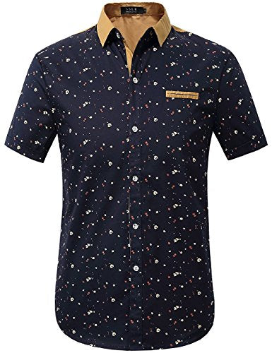 SSLR Men's Printed Button Down Casual Short Sleeve Cotton Shirts (Medium, Black) - Current Trend Sales