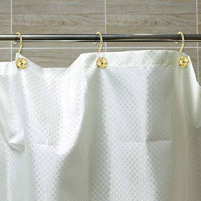 Shower Curtain Rings Hooks Rustproof Stainless Steel Shower Curtain Hooks Decorative S Shower Hooks, Set of 12 (Hollow Out Gold) - Current Trend Sales