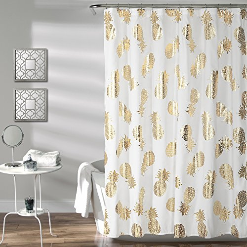 "Lush Decor Pineapple Toss Shower Curtain, 72"" x 72"", Gold - Current Trend Sales"