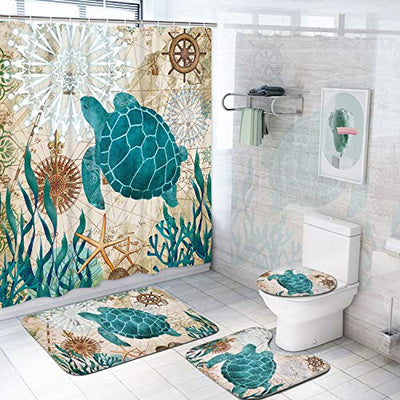 Pknoclan 4 Pcs Sea Turtle Shower Curtain Sets with Non-Slip Rug, Toilet Lid Cover and Bath Mat, Nautical Tropical Ocean Shower Curtains with 12 Hooks, Durable Waterproof Fabric Bath Curtain - Current Trend Sales