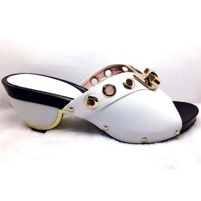 Women Low Heel Wedding Party Slip-On Slippers White