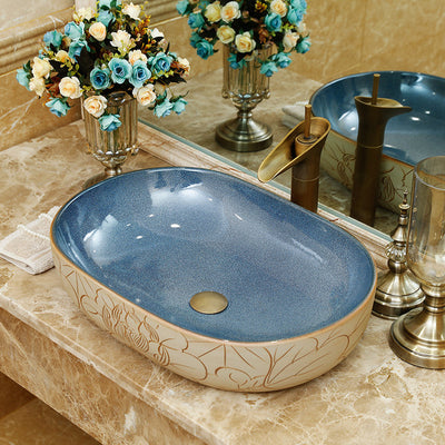 European style luxury ceramic porcelain bathroom wash face basin