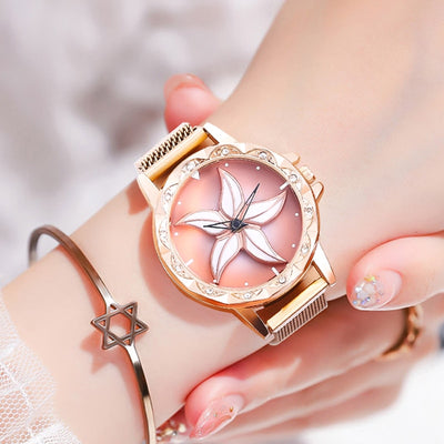 Womens Rose Gold Mesh Magnet Buckle Star Quartz Watch