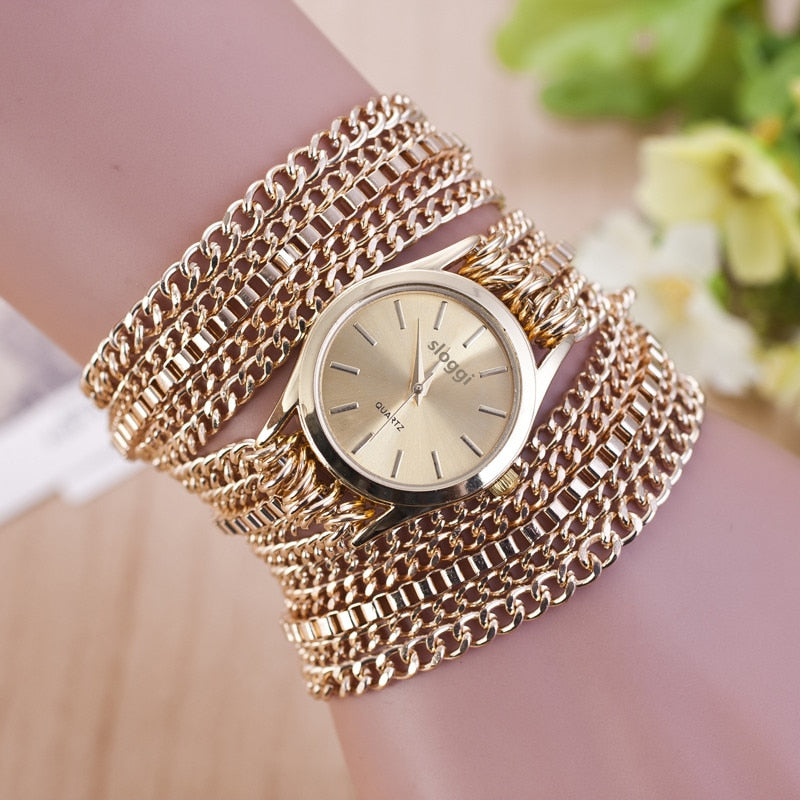 Bracelet Watches Women Fashion Alloy Chain Gold Ladies Quartz