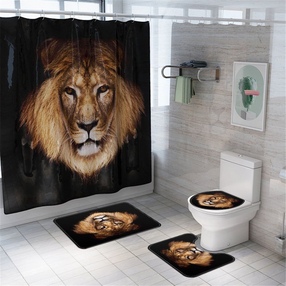Lion Bathroom Set Shower Curtain Non slip Mats Bath Carpets