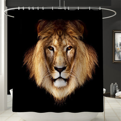 Lion Bathroom Set Shower Curtain Non slip Mats Bath Carpets Toilet Seat Cover Floor Mat Pedestal Rug Toilet Cover - Current Trend Sales