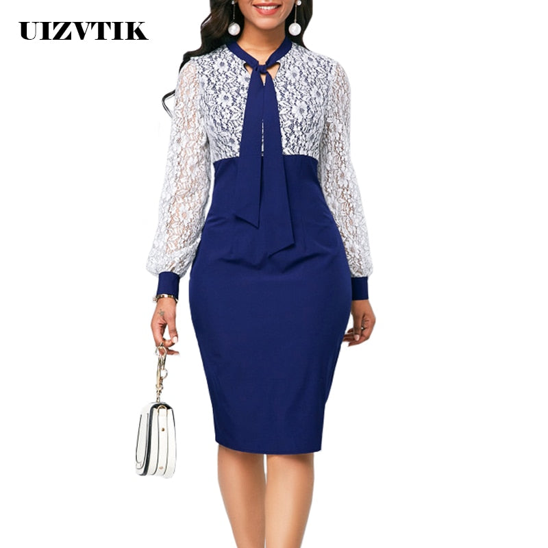 White Lace  Dress Women Plus Size Slim Office Bodycon Dress Elegant